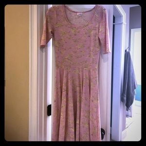 Lularoe Nicole dress in pink bird print size S